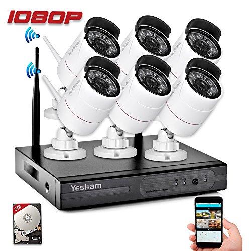 Yeskam Security Camera System 1080P HD Wireless IP Cameras