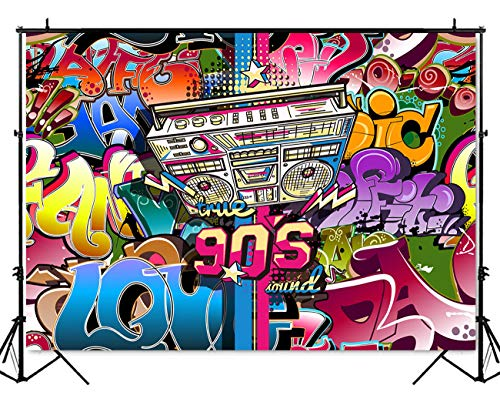 Mehofoto Hip Pop 90 S Backdrop 7x5ft Vinyl Graffiti Music