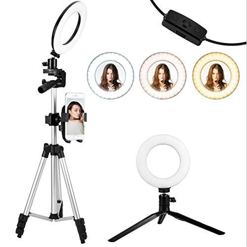 """KMASHI 6"""" Selfie Ring Light with Tripod Stand and Phone"""