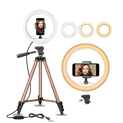 UBeesize 10″ Selfie Ring Light With 50″ Extendable Tripod